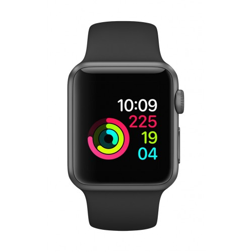 Apple Watch Series 1, 38mm Space Gray Aluminum Case with Black Sport Band